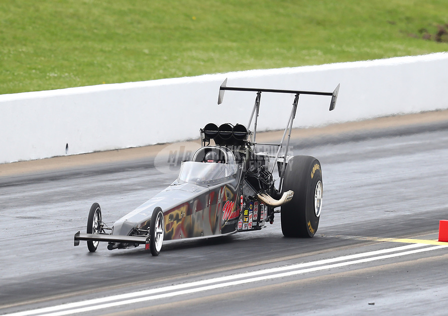 May 20, 2017; Topeka, KS, USA; NHRA top alcohol dragster driver Shawn Cowie during qualifying for the Heartland Nationals at Heartland Park Topeka. Mandatory Credit: Mark J. Rebilas-USA TODAY Sports
