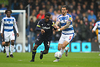 Florian Jozefzoon of Derby County and Geoff Cameron of Queens Park Rangers during Queens Park Rangers vs Derby County, Sky Bet EFL Championship Football at Loftus Road Stadium on 6th October 2018