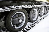 USA, Wyoming, Yellowstone National Park, detail of the tire and track system of a snow transport vehicle, the Snow Lodge at Old Faithful
