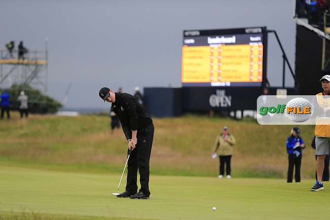 Jordan Niebrugge (AM)(USA) putts on the 17th green during Monday's Final Round of the 144th Open Championship, St Andrews Old Course, St Andrews, Fife, Scotland. 20/07/2015.<br /> Picture Eoin Clarke, www.golffile.ie