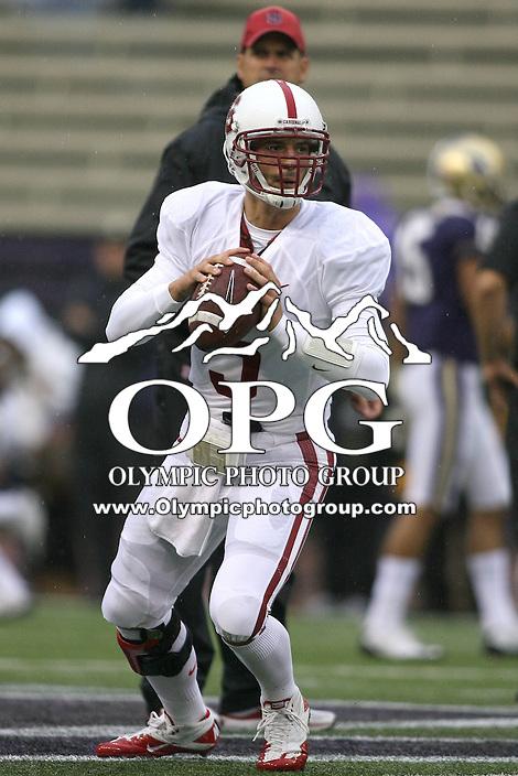 Oct 30, 20010:  Stanford quarterback #5 Alex Loukas warms up before the game against Washington.  Stanford defeated Washington 41-0 at Husky Stadium in Seattle, Washington...