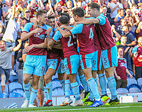 Burnley's Chris Wood celebrates scoring his side's first goal with teammates<br /> <br /> Photographer Alex Dodd/CameraSport<br /> <br /> UEFA Europa League - Europa League Qualifying Round 2 2nd Leg - Burnley v Aberdeen - Thursday 2nd August 2018 - Turf Moor - Burnley<br />  <br /> World Copyright © 2018 CameraSport. All rights reserved. 43 Linden Ave. Countesthorpe. Leicester. England. LE8 5PG - Tel: +44 (0) 116 277 4147 - admin@camerasport.com - www.camerasport.com