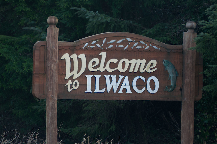 Welcome to Ilwaco Sign, Ilwaco, Washington, US