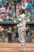 Center fielder Heliot Ramos (14) of the Augusta GreenJackets in a game against the Columbia Fireflies on Friday, April 6, 2018, at Spirit Communications Park in Columbia, South Carolina. Columbia won, 7-2. (Tom Priddy/Four Seam Images)