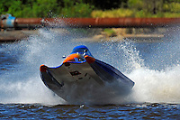 Frame 10: #42 rides up and over the roostertail of leader R.J. West, (#93) during the final heat.   (SST-45 class)