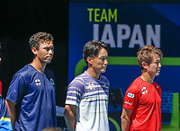 8th January 2020; RAC Arena, Perth, Western Australia; ATP Cup Australia, Perth, Day 6; Spain versus Japan; Japan team members line up for the National Anthem - Editorial Use