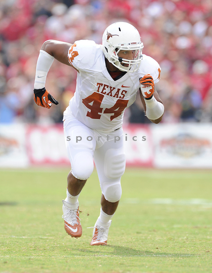 Texas Longhorns Jackson Jeffcoat (44) in action during a game against Oklahoma on October 13, 2012 at the Cotton Bowl in Dallas Texas. Oklahoma beat Texas 63-21.