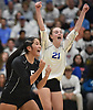 Kathleen Verastegui #5 of Long Beach, left, and Emma McGovern #21 react after a point against Commack in the girls volleyball Class AA Long Island Championship at Farmingdale State College on Sunday, Nov. 11, 2018.