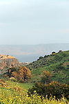 Israel, the Lower Galilee. A view of Wadi Amud and the Sea of Galilee