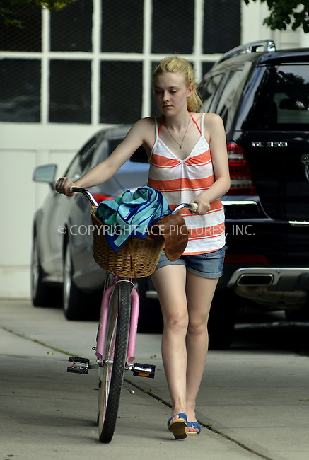 WWW.ACEPIXS.COM . . . . .  ....July 5 2012, New York City....Dakota Fanning on the Brooklyn set of the new movie 'Very Good Girls' on July 7 2012 in New York City....Please byline: CURTIS MEANS - ACE PICTURES.... *** ***..Ace Pictures, Inc:  ..Philip Vaughan (212) 243-8787 or (646) 769 0430..e-mail: info@acepixs.com..web: http://www.acepixs.com