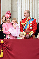 Catherine Duchess of Cambridge, Princess Charlotte, Prince George and Prince William<br /> on the balcony of Buckingham Palace during Trooping the Colour on The Mall, London. <br /> <br /> <br /> &copy;Ash Knotek  D3283  17/06/2017