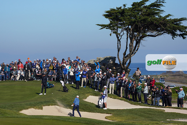 Dustin Johnson (USA) in action at Monterey Peninsula GC during the second round of the AT&T Pro-Am, Pebble Beach, Monterey, California, USA. 06/02/2020<br /> Picture: Golffile | Phil Inglis<br /> <br /> <br /> All photo usage must carry mandatory copyright credit (© Golffile | Phil Inglis)