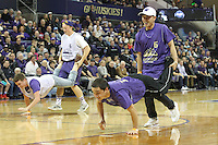 JAN 1, 2016:  Washington fans competed in a timeout contest to win prizes during the game against UCLA.  Washington defeated #25 ranked UCLA 96-93 in double overtime at Alaska Airlines Arena in Seattle, WA.
