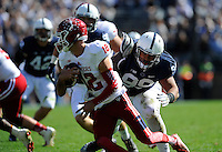 10 October 2015:   Penn State DT Austin Johnson (99) sacks Indiana QB Zander Diamont (12) during the second quarter. The Penn State Nittany Lions defeated the Indiana Hoosiers 29-7 at Beaver Stadium in State College, PA. (Photo by Randy Litzinger/Icon Sportswire)