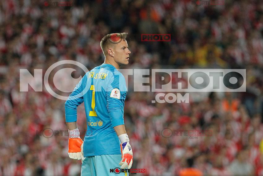 Barcelona´s goalkeeper Ter Stegen during 2014-15 Copa del Rey final match between Barcelona and Athletic de Bilbao at Camp Nou stadium in Barcelona, Spain. May 30, 2015. (ALTERPHOTOS/Victor Blanco)