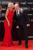 Cayetana Guillen Cuervo poses with Antonio Resines before 63rd Donostia Zinemaldia opening ceremony (San Sebastian International Film Festival) in San Sebastian, Spain. September 18, 2015. (ALTERPHOTOS/Victor Blanco) /NortePhoto.com