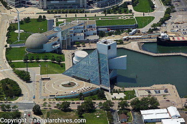 aerial view above Rock and Roll Hall of Fame Great Lakes Science Center North Coast Harbor downtown Cleveland Ohio