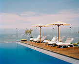 PERU, Lima, South America, Latin America, the swimming pool on the rooftop of the Miraflores Park Hotel in Lima.