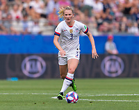 REIMS,  - JUNE 24: Sam Mewis #3 sprints forward during a game between NT v Spain and  at Stade Auguste Delaune on June 24, 2019 in Reims, France.