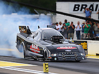 Aug 19, 2016; Brainerd, MN, USA; NHRA funny car driver Brian Stewart during qualifying for the Lucas Oil Nationals at Brainerd International Raceway. Mandatory Credit: Mark J. Rebilas-USA TODAY Sports