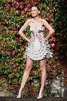 30/9/2010. Karen Millen Autumn Winter 2010 Christmas collection. Model Sarah wears nudge gothic ruffle dress EUR250 and nudge cage sandal EUR160 at a sneak preview of the Karen Millen Autumn Winter 2010 Christmas collection in Dublin. Picture James Horan/Collins Photos