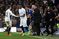 Tom Carroll of Swansea City leaves the field and is substituted with Jordan Ayew of Swansea City during the Premier League match between Chelsea and Swansea City at Stamford Bridge, London, UK. Saturday 25 February 2017