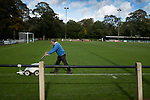 The groundsman lines the pitch before Nelson hosted Daisy Hill in a North West Counties League first division north fixture at Victoria Park. Founded in 1881, the home club were members of the Football League from 1921-31 and has played at their current ground, known as Little Wembley, since 1971. The visitors won this fixture 6-3, watched by an attendance of 78.