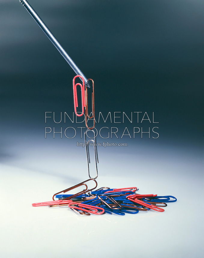 TEMPORARY MAGNET: FERROMAGNETISM<br /> Magnetized Nail Suspends String of Paper Clips.<br /> Temporary magnets act like permanent magnets as long as they are within a strong magnetic field.