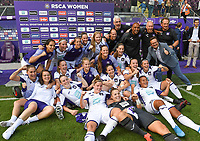 20190810 - ANDERLECHT, BELGIUM : Anderlecht's players and staff celebrating their win after the female soccer game between the Belgian RSCA Ladies – Royal Sporting Club Anderlecht Dames  and the Norwegian LSK Kvinner Fotballklubb ladies , the second game for both teams in the Uefa Womens Champions League Qualifying round in group 8 , saturday 10 th August 2019 at the Lotto Park Stadium in Anderlecht  , Belgium  .  PHOTO SPORTPIX.BE for NTB NO | DAVID CATRY