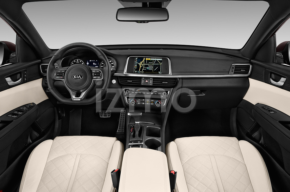 Stock photo of straight dashboard view of a 2017 KIA Optima SX Limited AT 4 Door Sedan