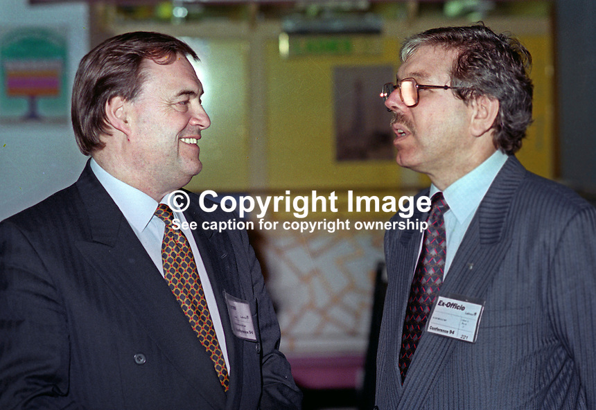 John Prescott, MP, deputy leader, Labour Party, UK, left, chatting with fellow MP, Alan Meale, during annual conference September 1994. 199409008<br /> <br /> Copyright Image from Victor Patterson, 54 Dorchester Park, Belfast, UK, BT9 6RJ<br /> <br /> t1: +44 28 9066 1296<br /> t2: +44 28 9002 2446<br /> m: +44 7802 353836<br /> <br /> e1: victorpatterson@me.com<br /> e2: victorpatterson@gmail.com<br /> <br /> www.victorpatterson.com<br /> <br /> IMPORTANT: Please see my Terms and Conditions of Use at www.victorpatterson.com