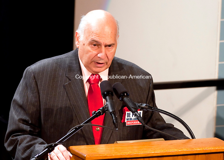 WATERBURY, CT--- -102115JS25---Mayoral candidate  Independent Lawrence De Pillo, answers a question during a debate on education Wednesday at Waterbury Arts Magnet School. <br /> Jim Shannon Republican-American