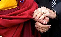 Hands, Dalai Lama and Rabbi Gil Steinlauf of Adas Israel Congregation, Washington, DC