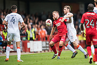 James Collins of Crawley Town (19) and Stephen O'Donnell of Luton Town (2) challenge for the ball  during the Sky Bet League 2 match between Crawley Town and Luton Town at the Broadfield/Checkatrade.com Stadium, Crawley, England on 17 September 2016. Photo by Edward Thomas / PRiME Media Images.