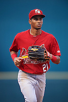 Palm Beach Cardinals center fielder Oscar Mercado (21) jogs to the dugout during a game against the Bradenton Marauders on August 8, 2016 at McKechnie Field in Bradenton, Florida.  Bradenton defeated Palm Beach 5-4 in 11 innings.  (Mike Janes/Four Seam Images)