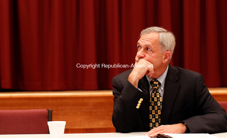 Southbury, CT- 21, September 2011-092111CM01  Democratic First Selectman candidate Ed Edelson listens to Southbury First Selectman Bill Davis answer a question during an open forum at the Heritage Village Activities building in Southbury Wednesday afternoon.    Christopher Massa Republican-American