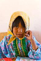 Tarahumara Indian girl in the classroom, Tarahumara Boarding School, Ejido San Alonso, near San Rafael, Copper Canyon, Mexico