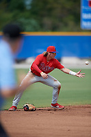 Philadelphia Phillies shortstop Bryson Stott (10) fields a ground ball after losing his glove on the play during an Instructional League game against the Toronto Blue Jays on September 27, 2019 at Englebert Complex in Dunedin, Florida.  (Mike Janes/Four Seam Images)