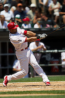 Chicago White Sox outfielder Alex Rios #51 swings during the Major League Baseball game against the Milwaukee Brewers on June 24, 2012 at US Cellular Field in Chicago, Illinois. The White Sox defeated the Brewers 1-0 in 10 innings. (Andrew Woolley/Four Seam Images).