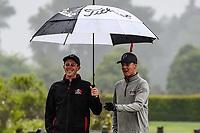 Tyler Wood(r) of Manawatu/Wanganui with caddie,Toro New Zealand Mens Interprovincial Tournament, Clearwater Golf Club, Christchurch, New Zealand, 26th November 2018. Photo:John Davidson/www.bwmedia.co.nz
