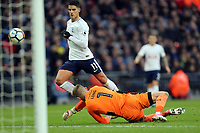 Erik Lamela of Tottenham beats George Long of AFC Wimbledon but his effort goes wide during Tottenham Hotspur vs AFC Wimbledon, Emirates FA Cup Football at Wembley Stadium on 7th January 2018