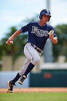 Tampa Bay Rays Daniel De La Calle (13) during an instructional league game against the Baltimore Orioles on September 25, 2015 at Ed Smith Stadium in Sarasota, Florida.  (Mike Janes/Four Seam Images)