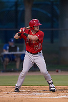 AZL Angels third baseman Justin Jones (88) at bat during an Arizona League game against the AZL Dodgers at Camelback Ranch on July 8, 2018 in Glendale, Arizona. The AZL Dodgers defeated the AZL Angels 5-3. (Zachary Lucy/Four Seam Images)