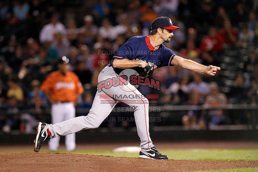 Pawtucket Red Sox pitcher Trevor Miller #11 delivers a pitch during a game against the Rochester Red Wings at Frontier Field on August 30, 2011 in Rochester, New York.  Rochester defeated Pawtucket 8-6.  (Mike Janes/Four Seam Images)