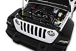 Car stock 2018 Jeep Wrangler Unlimited Sport 5 Door SUV engine high angle detail view