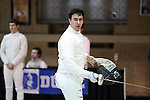 11 February 2017: Duke's Dakota Nollner competes in Epee. The Duke University Blue Devils hosted the Boston College Eagles at Card Gym in Durham, North Carolina in a 2017 College Men's Fencing match. Duke won the dual match 18-9 overall, 9-0 Foil, and 6-3 Saber. Boston College won Epee 6-3.