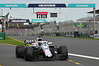 March 24, 2018: Lance Stroll (CAN) #18 from the Williams Martini Racing team leaves the pit for his qualifying lap at the 2018 Australian Formula One Grand Prix at Albert Park, Melbourne, Australia. Photo Sydney Low