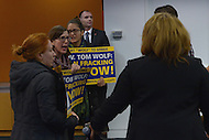 Washington, DC - February 19, 2016: Members of the group Pennsylvanians Against Fracking protest as Gov. Tom Wolf of Pennsylvania participates in a panel discussion on climate and clean energy at the Center for American Progress in the District of Columbia, February 19, 2016. (Photo by Don Baxter/Media Images International)