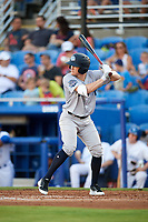 Tampa Tarpons shortstop Kyle Holder (8) at bat during a game against the Dunedin Blue Jays on June 2, 2018 at Dunedin Stadium in Dunedin, Florida.  Dunedin defeated Tampa 4-0.  (Mike Janes/Four Seam Images)