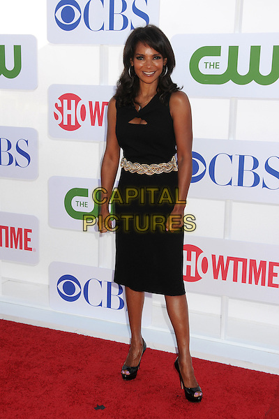 Dr. Lisa Masterson.CBS, CW, Showtime 2012 Summer TCA Party held at The Beverly Hilton Hotel, Beverly Hills, California, USA..July 29th, 2012.full length black dress sleeveless gold belt .CAP/ADM/BP.©Byron Purvis/AdMedia/Capital Pictures.